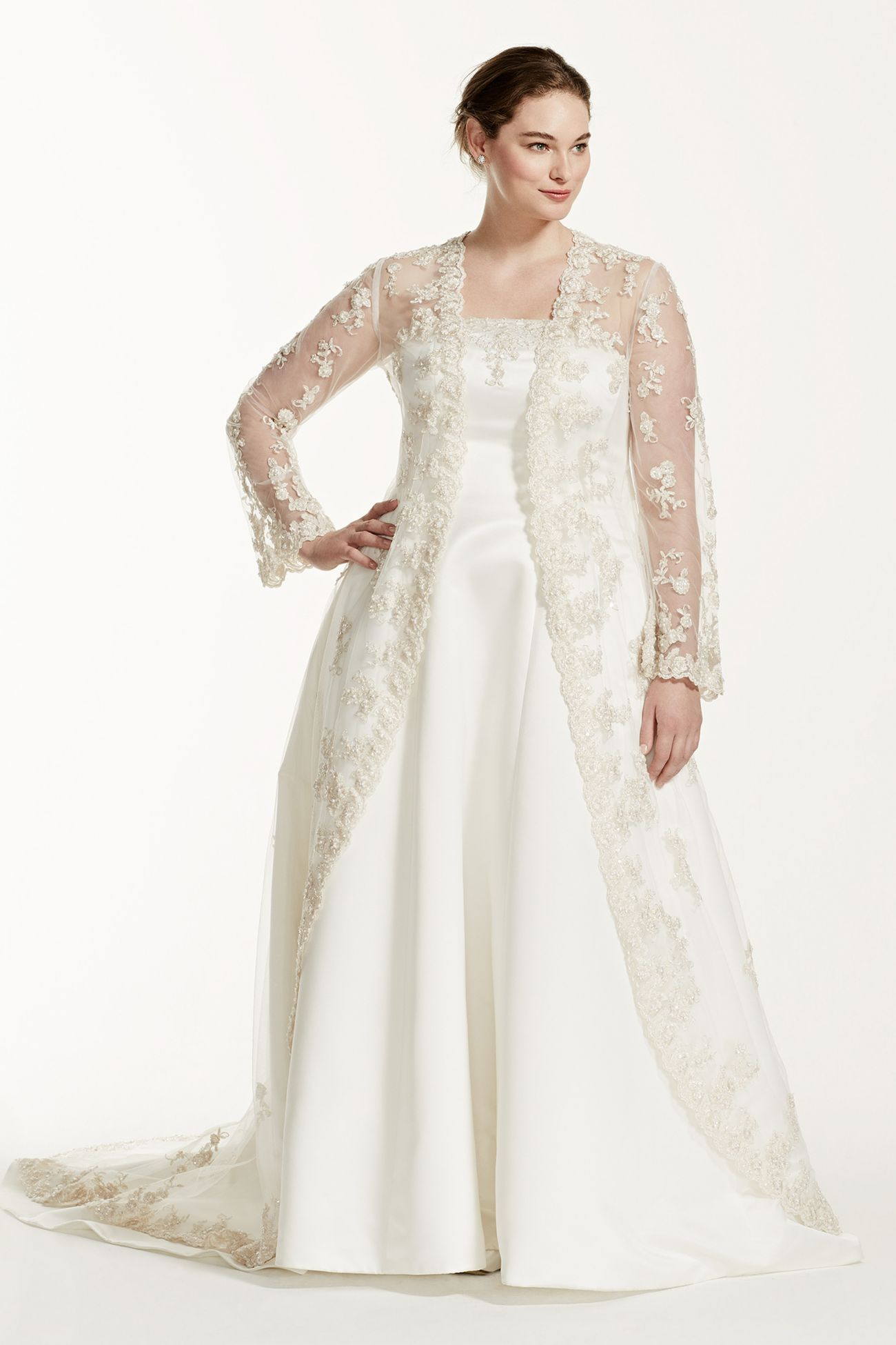 Plus Size Wedding Dress with Beaded Lace Jacket A line