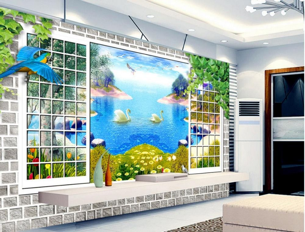 3d Mural Paintings Stereoscopic Wallpaper Scenery Outside The Window Fashion 3D TV Backdrop