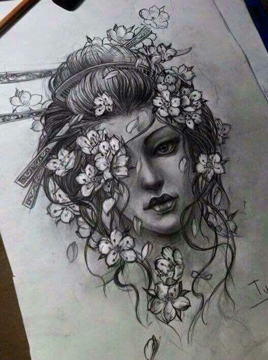 Resultado De Imagem Para Geisha Drawing Tatuagens Pinterest