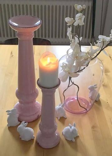 Details zu Shabby Chic großer Kerzenständer Kerzenleuchter Altrosa - drahtkörbe für küchenschränke