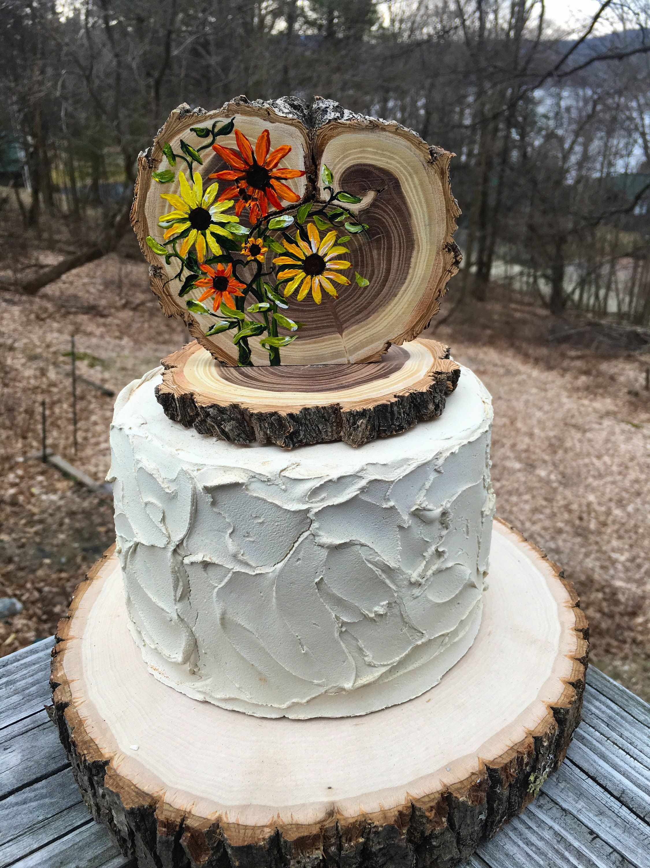 Sunflowers Custom Wedding Cake Topper Rustic Wood Slices