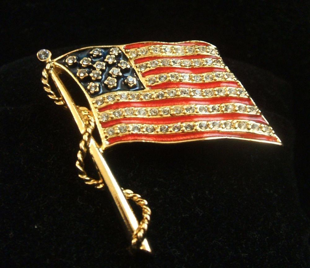 VIntage JBK Jacqueline Jackie Bouvier Kennedy Flag Pin Brooch by Camrose & Kross