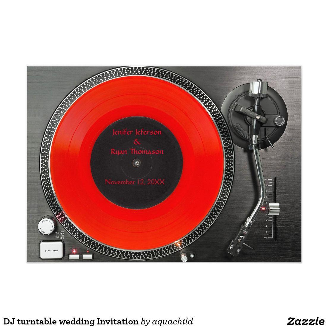 DJ turntable wedding Invitation | Customized unusual invitations ...