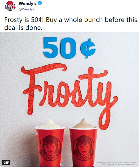 Wendys Deal! Wendys frosty, Food pictures