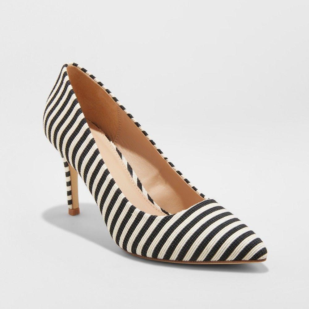 5fba14e70 Women s Gemma Striped Wide Width Pointed Toe Heel Pumps - A New Day Black  8.5W