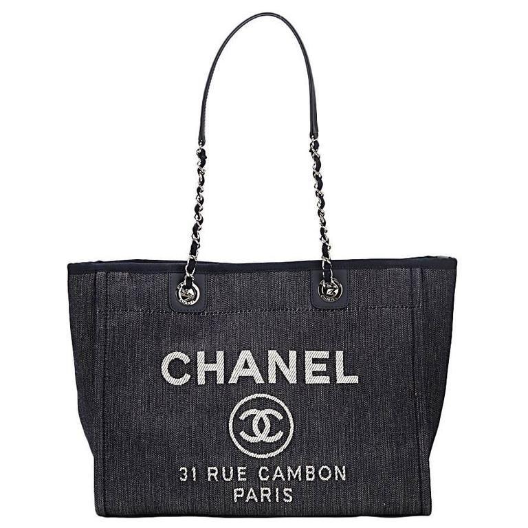 2015 Chanel Blue Denim Small Deauville Tote