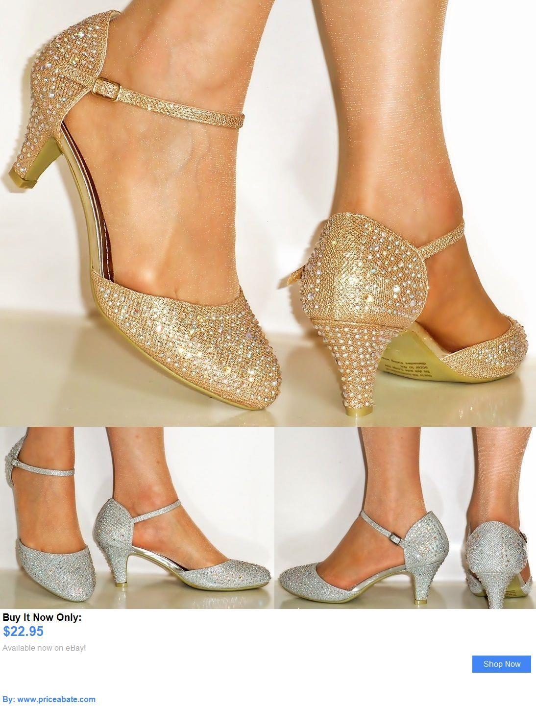 Ladies Womens Low Block Heel Party Bridal Glitter Sandals Wedding Prom Shoes Sz