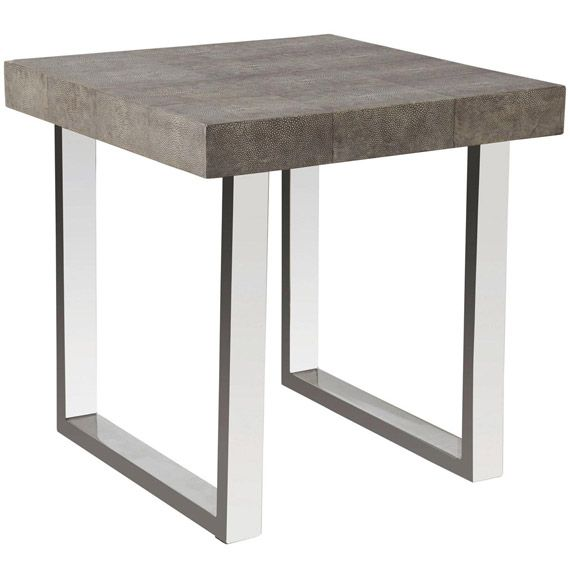 Delano Low Side Table Chrome Shagreen Metal Side Table Table