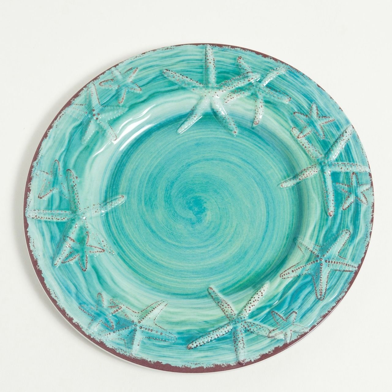 The 9   Turquoise Raised Starfish Salad/Dessert Plates are sold in sets of  sc 1 st  Pinterest & Raised Turquoise Starfish Salad Plates - Set of 4 | Starfish ...