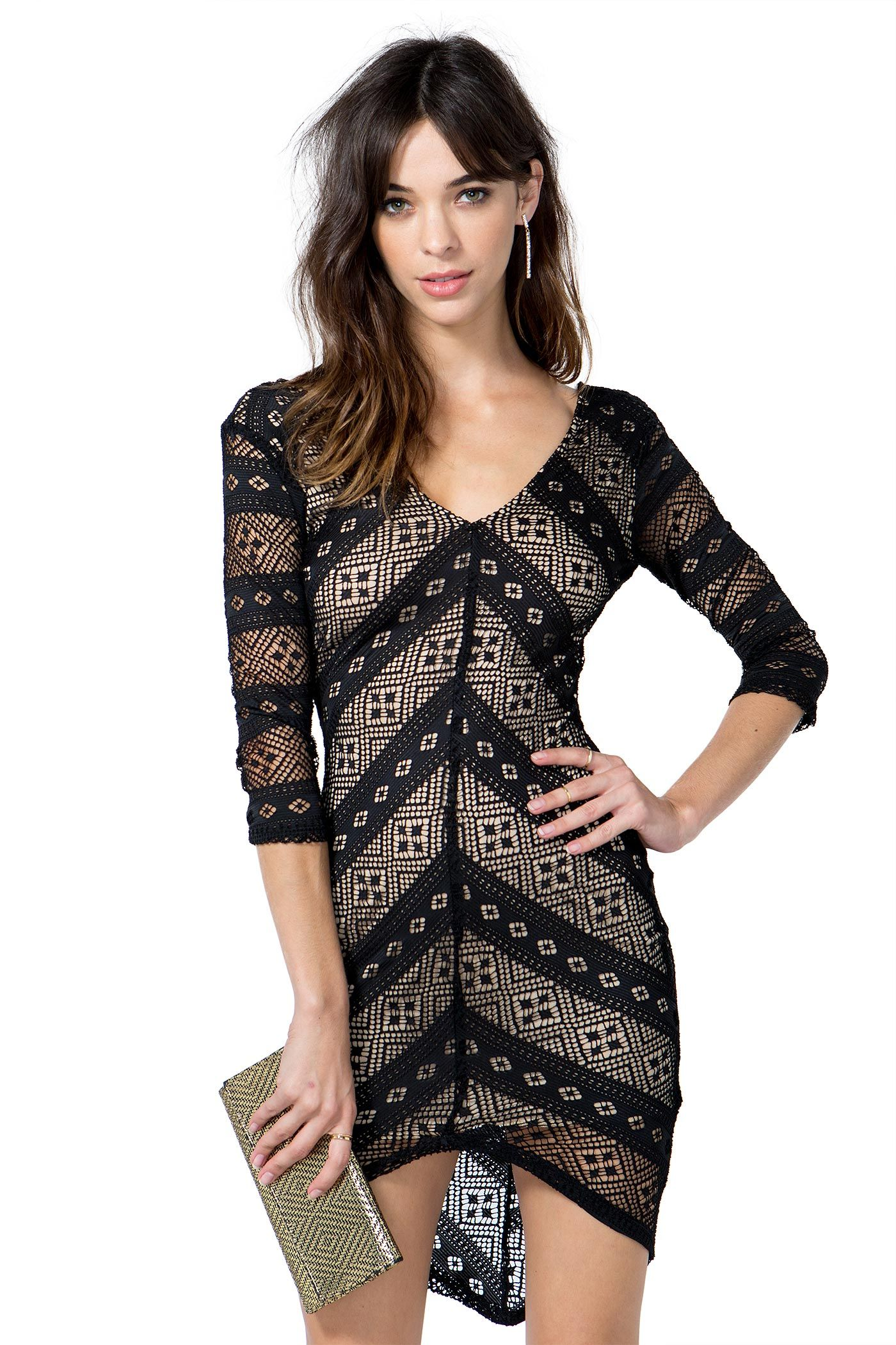 V neck black lace dress  A dreamy black lace dress featuring an allover chevron pattern and