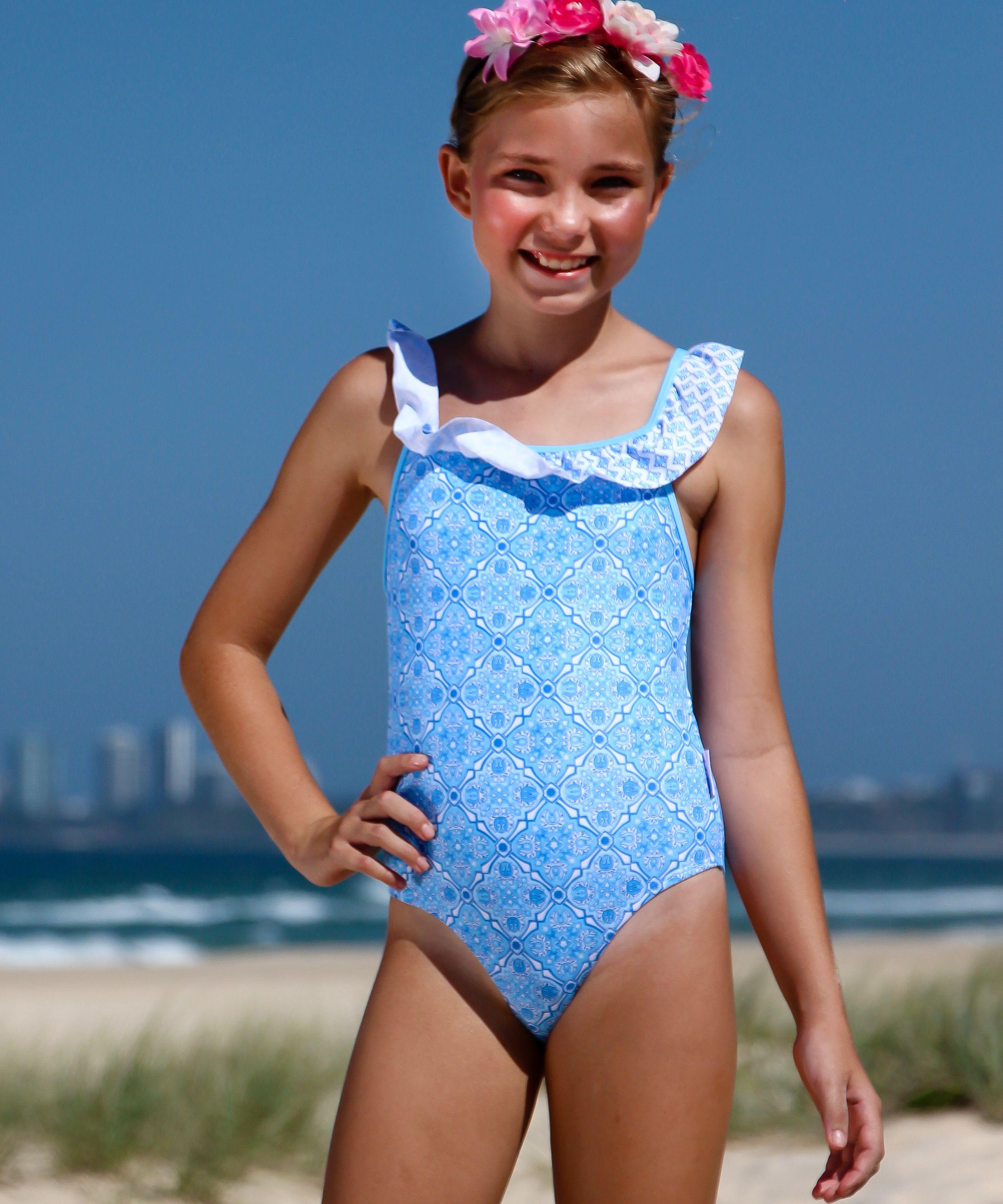 e120d86065a5 Girls Swimsuit with Frills - Swimwear  kids  kidsswimwear  summer  swimsuits