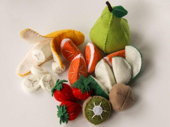 Felt Play Food Fruit Set, Pretend Play Kitchen, Play Shop, Felt Apple,  Orange, Peelable Banana, Pear, Strawberries
