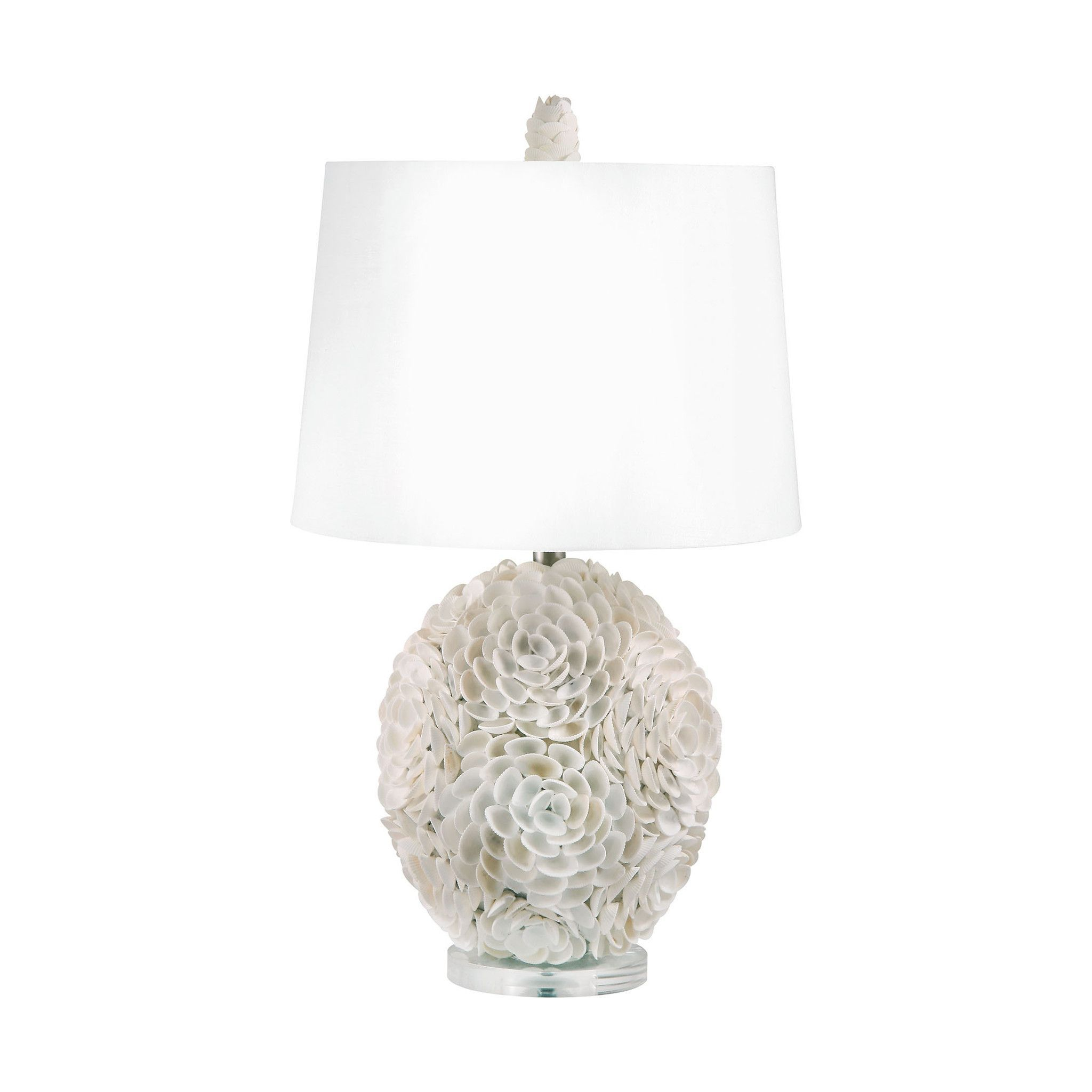 Lamp works hand applied natural shells table lamp 505 products lamp works shell table lamp delicate white shells create the floral motif of this lamp works shell table lamp a matching finial and white fabric drum aloadofball Images