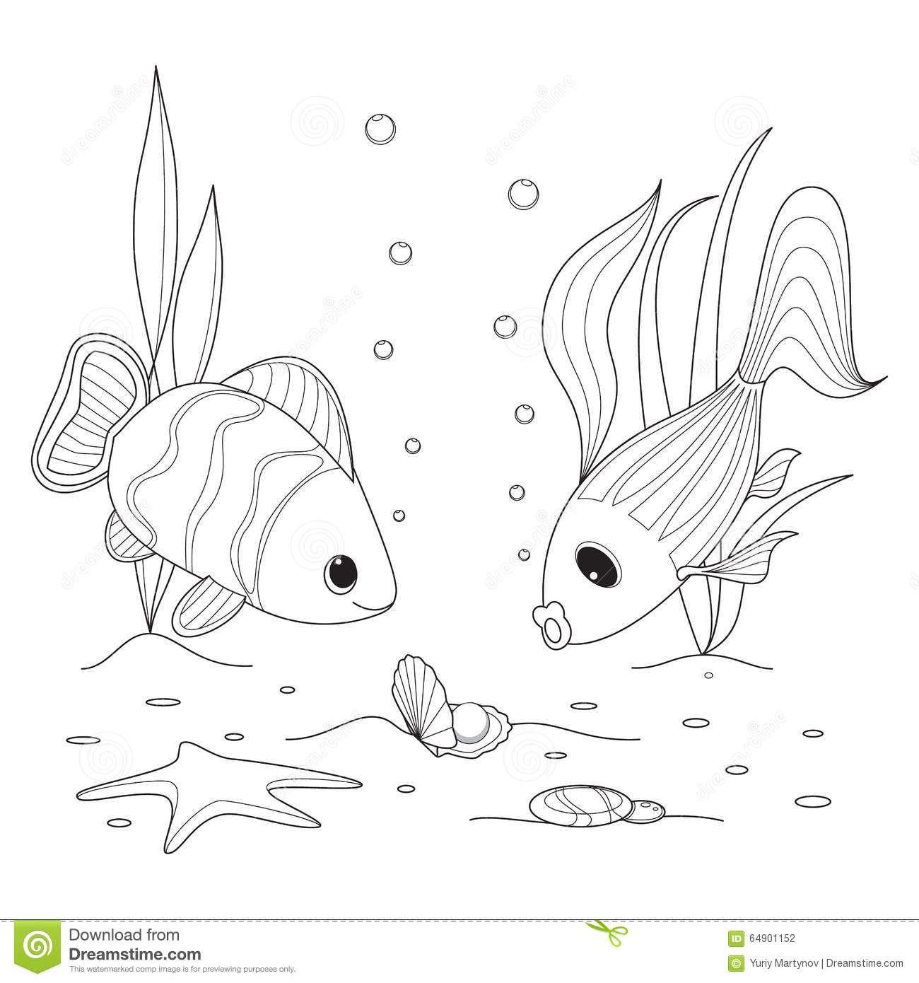 Shell Pearl Fish Swimming Around Starfish Seaweed Grow Sea
