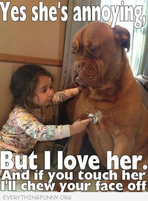 Funny Caption Pictures Little Girl Big Dog Yes Shes Annoying But I