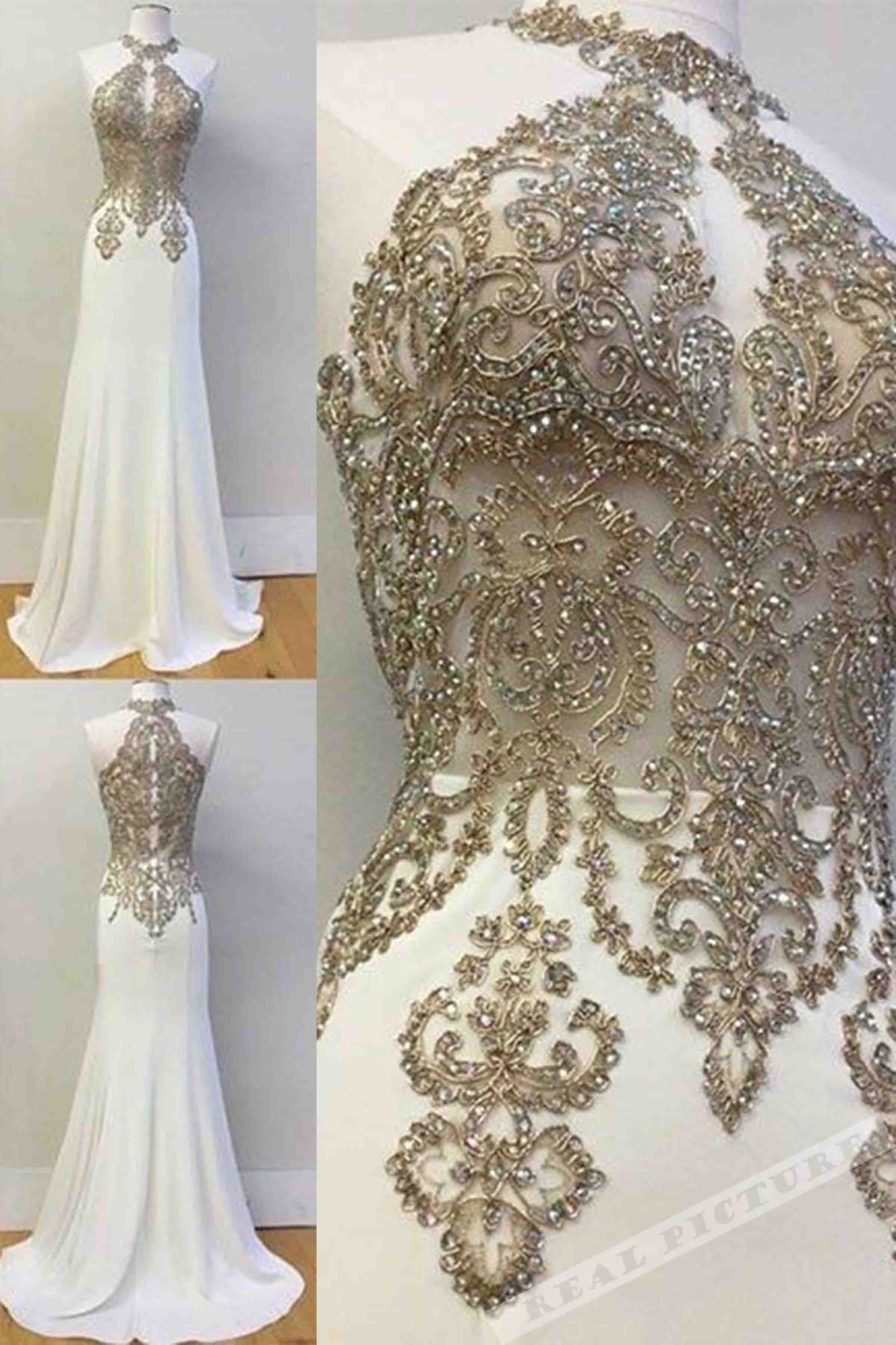 White chiffon beading sequins seethrough long dressevening dresses