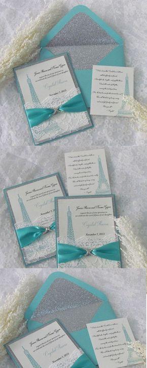 Tiffany Blue Glitter Invitations Sliver Glitter Invitations Paris
