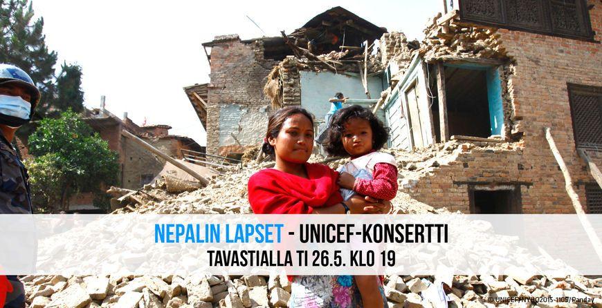 Nepalin lapset - UNICEF-konsertti: Katri Helena, Ismo Alanko, Paperi T, Atomirotta, Pelle Miljoona, Jonna Tervomaa ja muita - Tavastia-klubi, Helsinki - 26.5.2015 - Tiketti
