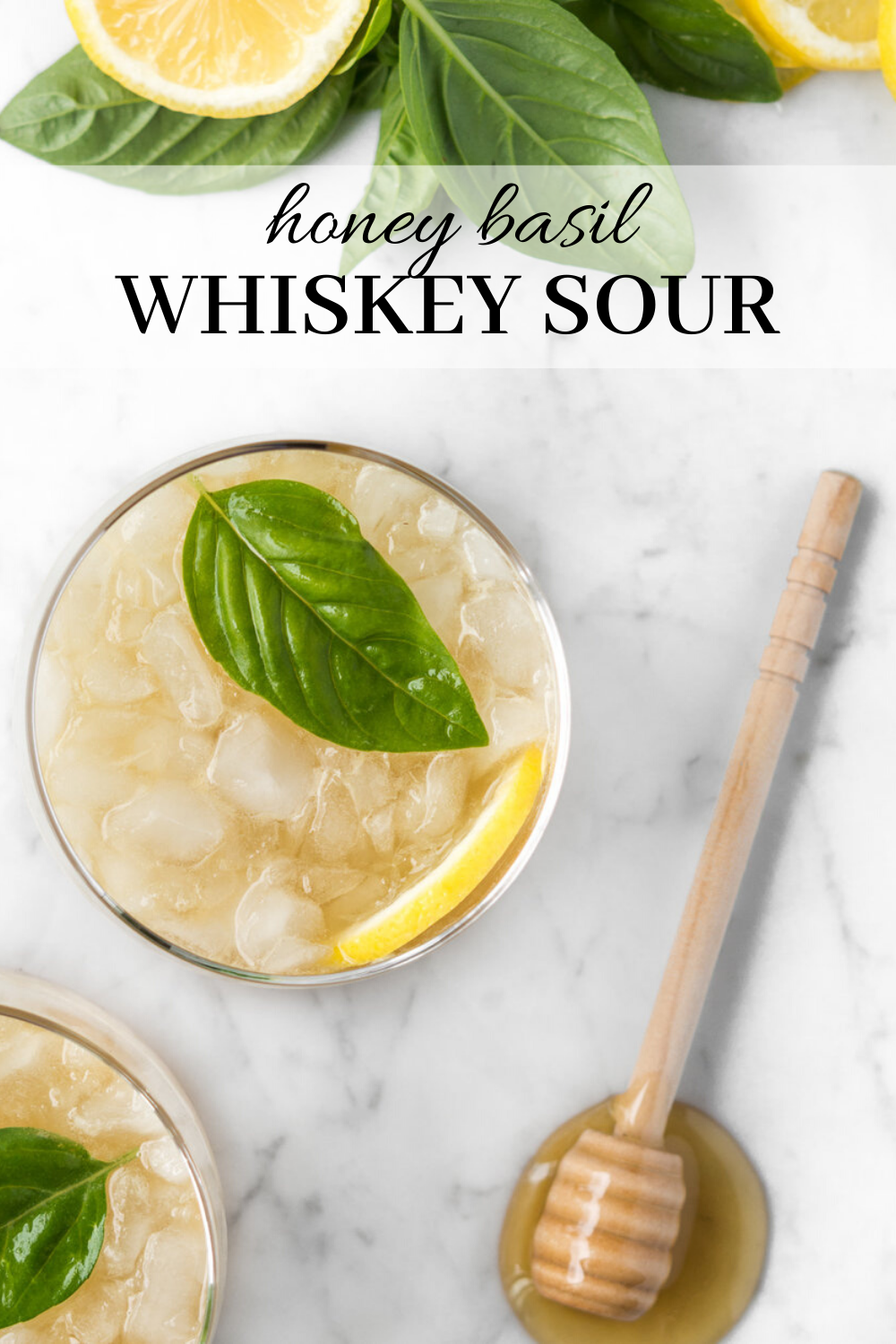 Photo of honey basil whiskey sour