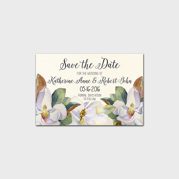 Save the date printable invitation wedding invite magnolia for Magnolia tree wedding invitations