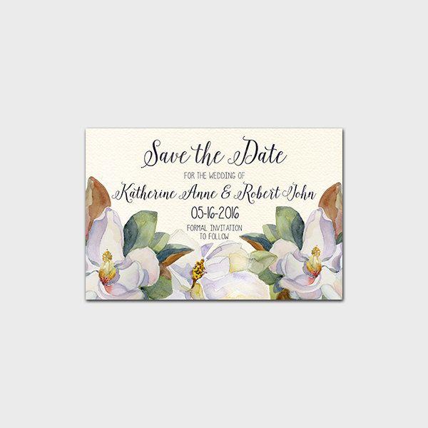 Magnolia Tree Wedding Invitations Save The Date Printable Invitation Wedding Invite Magnolia