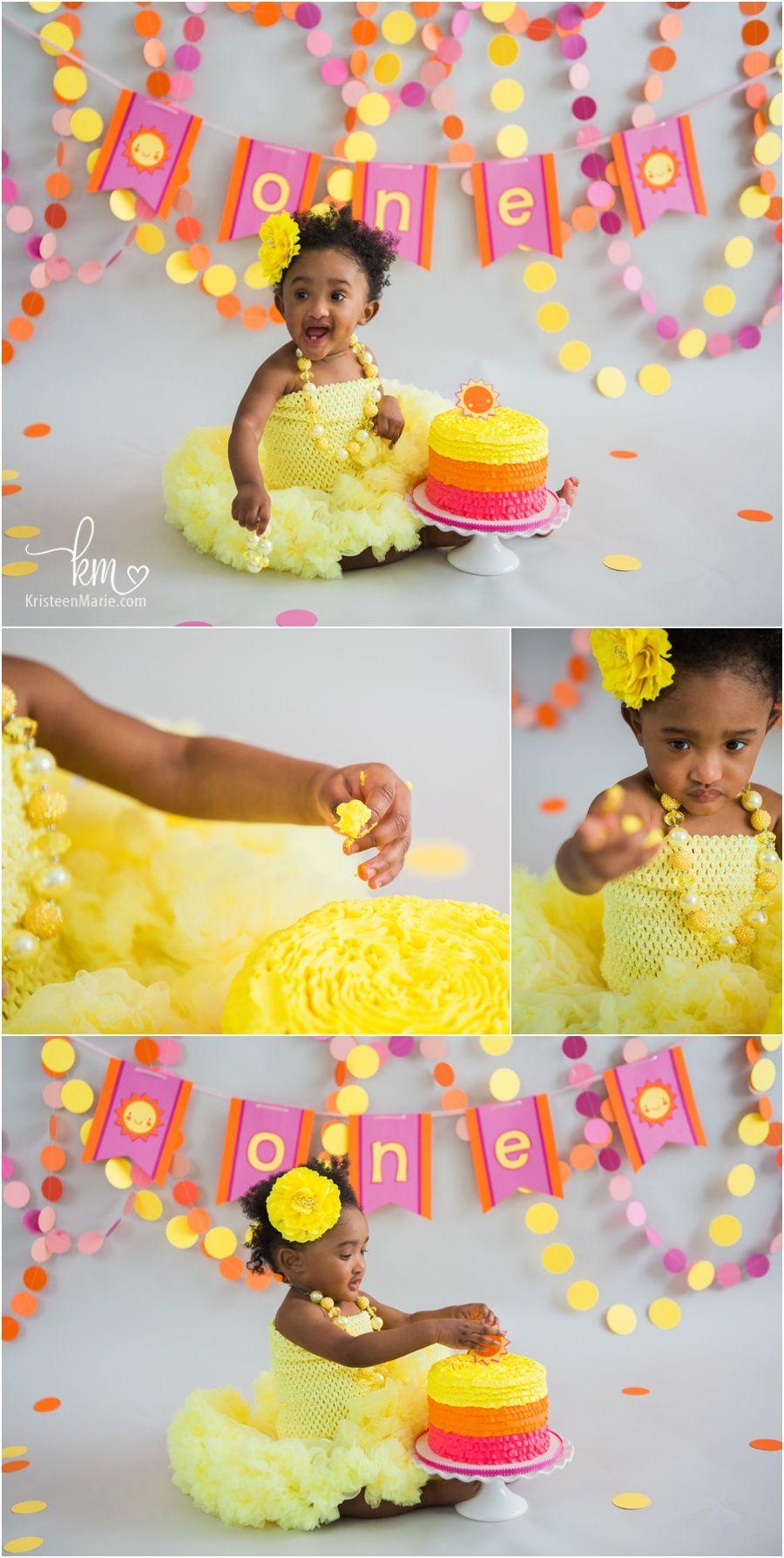 Sunshine Cake Smash Session Indianapolis Child Photographer Sunshine Birthday Parties Sunshine Birthday Cakes Girl Birthday Themes