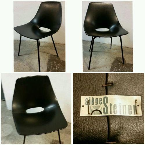 pierre guariche chaise tonneau dition steiner simili cuir noir 1950 in art antiquit s meubles. Black Bedroom Furniture Sets. Home Design Ideas