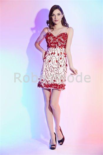 Robe de cocktail 2015 mini à la mode décorée perles et fleurs à la main