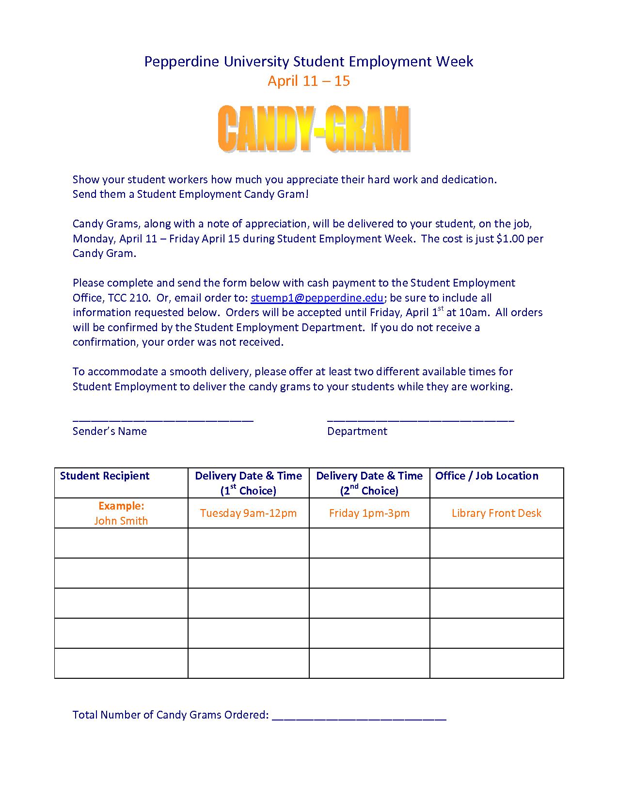 Send them a Student Employment Candy Gram! Description from