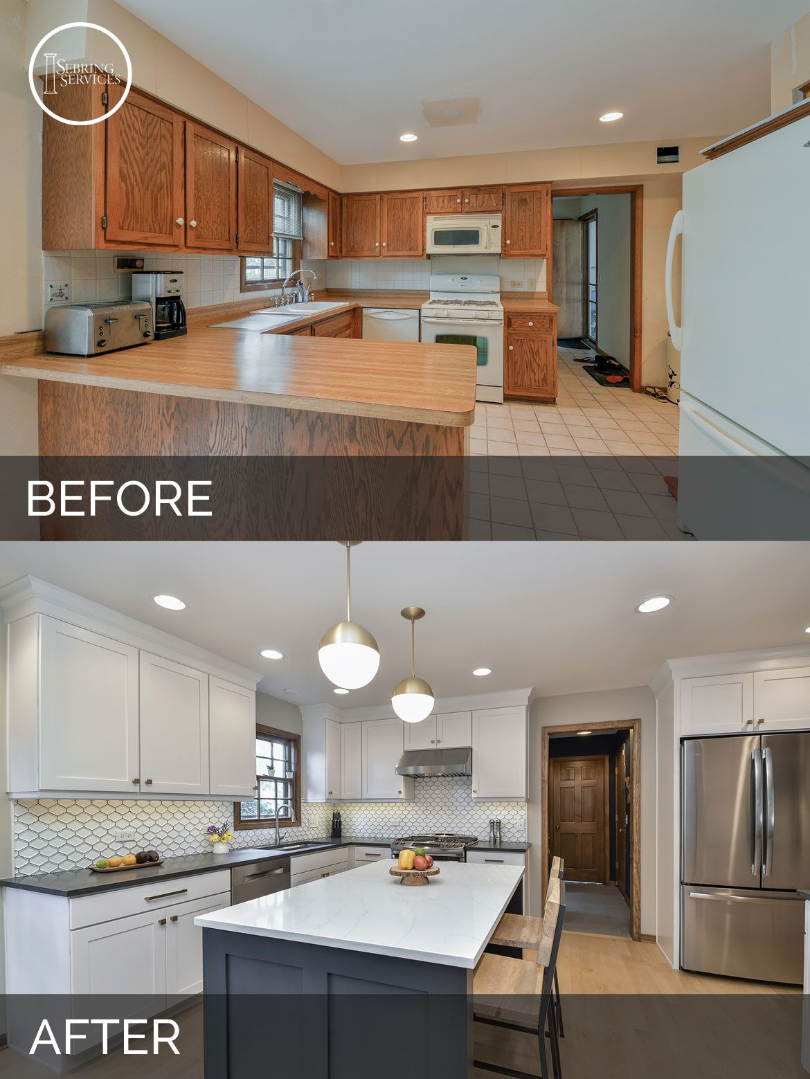 Before and after kitchen remodeling naperville sebring for Kitchen cabinet renovation ideas