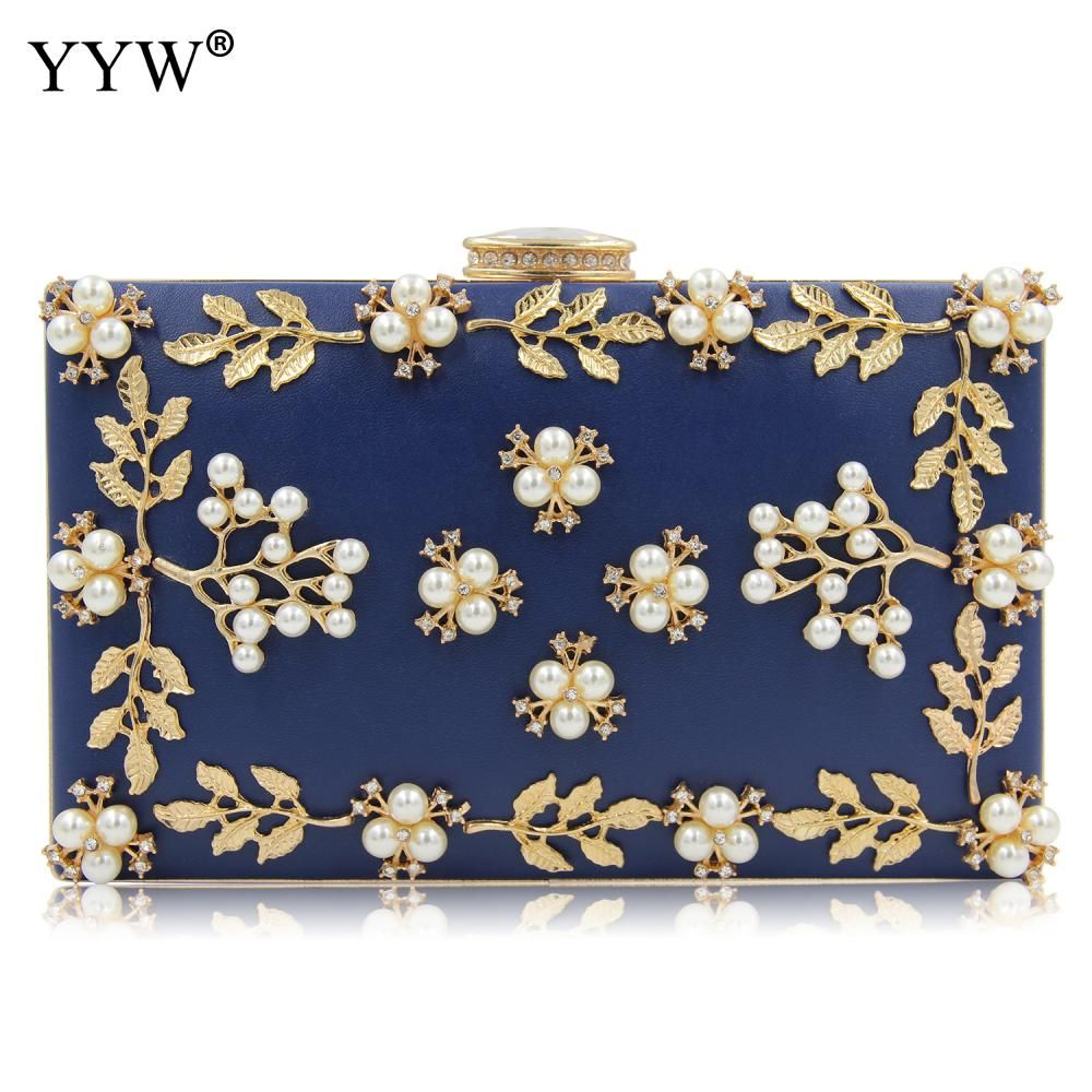 Beaded bags wedding party evening top handle blue