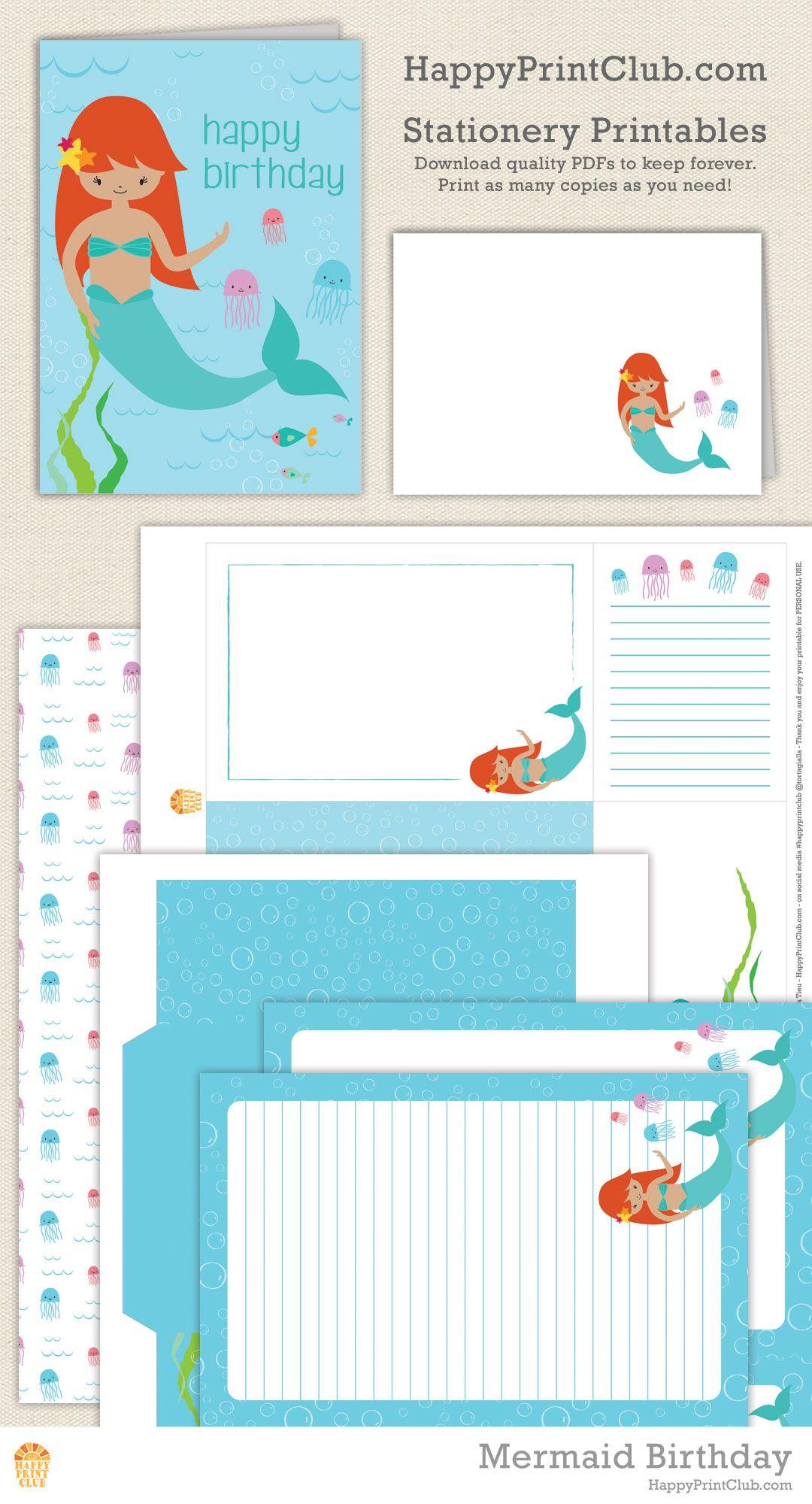 Mermaid Printables birthday card notecards journaling cards