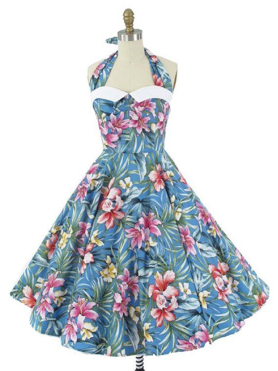 Blue Hawaiian Pin Up Halter Dress-1950s Inspired- 50s Style-Full Circle  Skirt-Swing Dress-Rockabilly 1eb048122d70