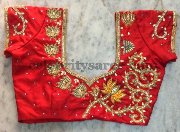 6b3a58217bf3ce Red Blouse with Maggam Work Lotus Flowers - Saree Blouse Patterns