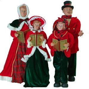 Christmas Carol Singers Figurines.Victorian Carolers Figurines Large Traditional