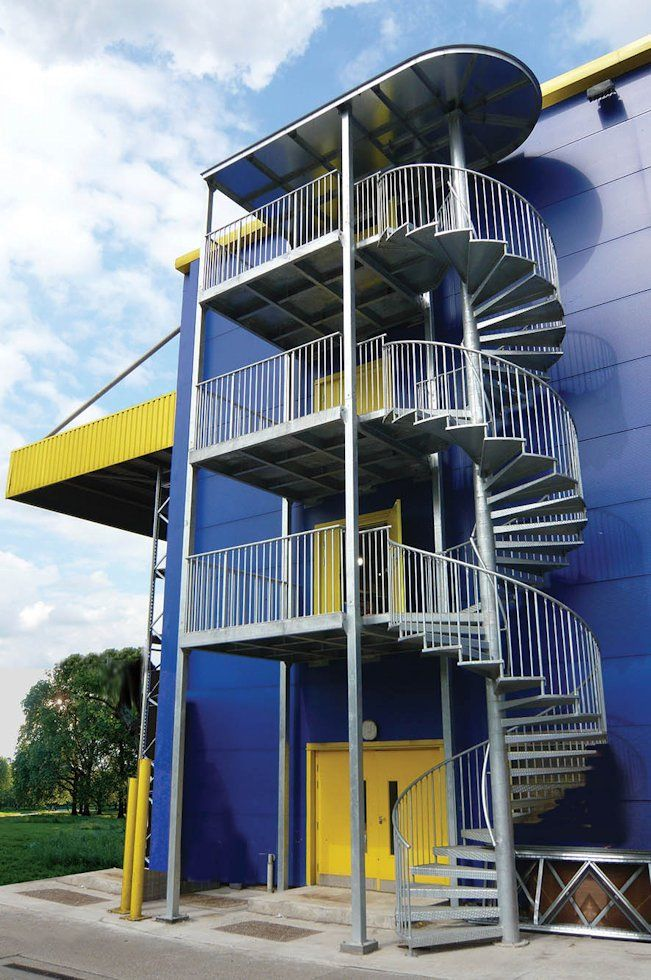 Three Storey Fire Escape With Guard Rail And Access