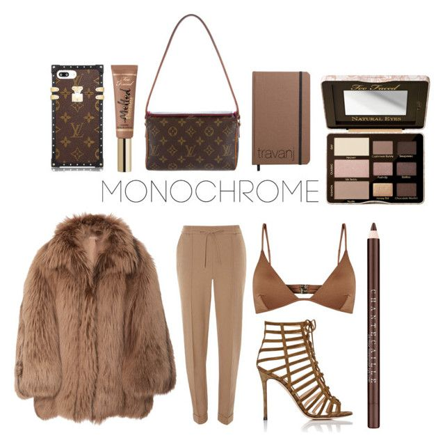 """""""Brown monochrome"""" by travanj ❤ liked on Polyvore featuring Melissa Odabash, Dorothy Perkins, Michael Kors, Gianvito Rossi, Louis Vuitton, Shinola, Too Faced Cosmetics and Chantecaille"""