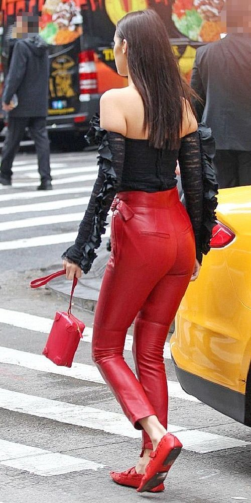 596bc21396be0 Bella Hadid sporting sexy high waisted red Leather Pants   #high ...