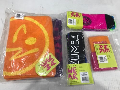 Fitness DVDs 109130  Zumba Towels (2 Pk) Rock N Rave Socks(3 Pk) Headbands  (3 Pk)Wristbands (2Pk) New -  BUY IT NOW ONLY   30 on eBay! 72152c68d8e