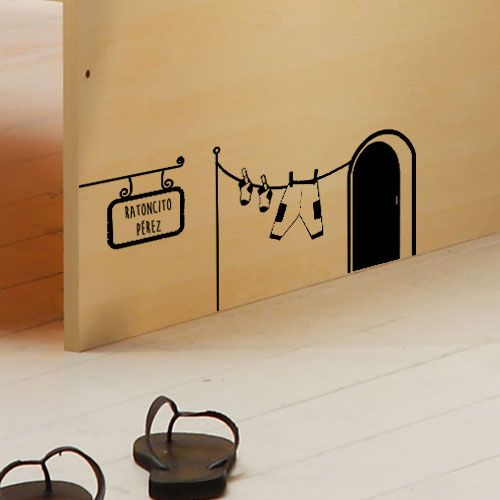 Bonito vinilo decorativo de la puerta del ratoncito p rez for Vinilos decorativos de ninos