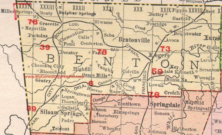 map siloam springs arkansas Benton County Arkansas 1909 Map Bentonville Rogers Sulphur Springs Gravette Siloam Springs Monte Ne War Eagle Benton County County Map Genealogy Forms map siloam springs arkansas