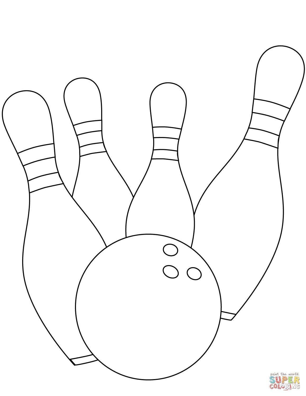 4 Worksheet 1 Bowling Coloring Page Sports Kindergarten
