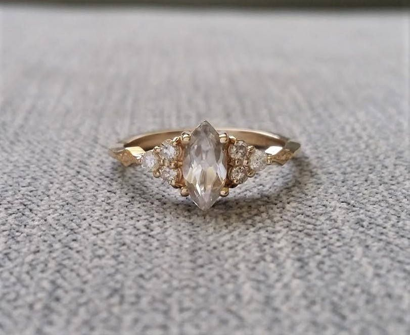 "Antique Engagement Ring Victorian White Sapphire Marquise Diamond Bohemian Antique Filigree Delicate 14K Yellow Gold ""The Delphine"" by PenelliBelle on Etsy"