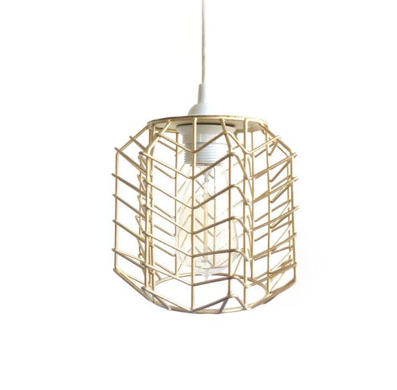 Gold Chevron Geometric Pendant Lighting - Zigzag hanging pendent light, Industrial Kitchen Island Bar light white and gold decor modern lamp