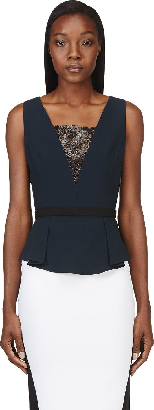 Peter Pilotto: Navy Lace Panel Mila Top | SSENSE