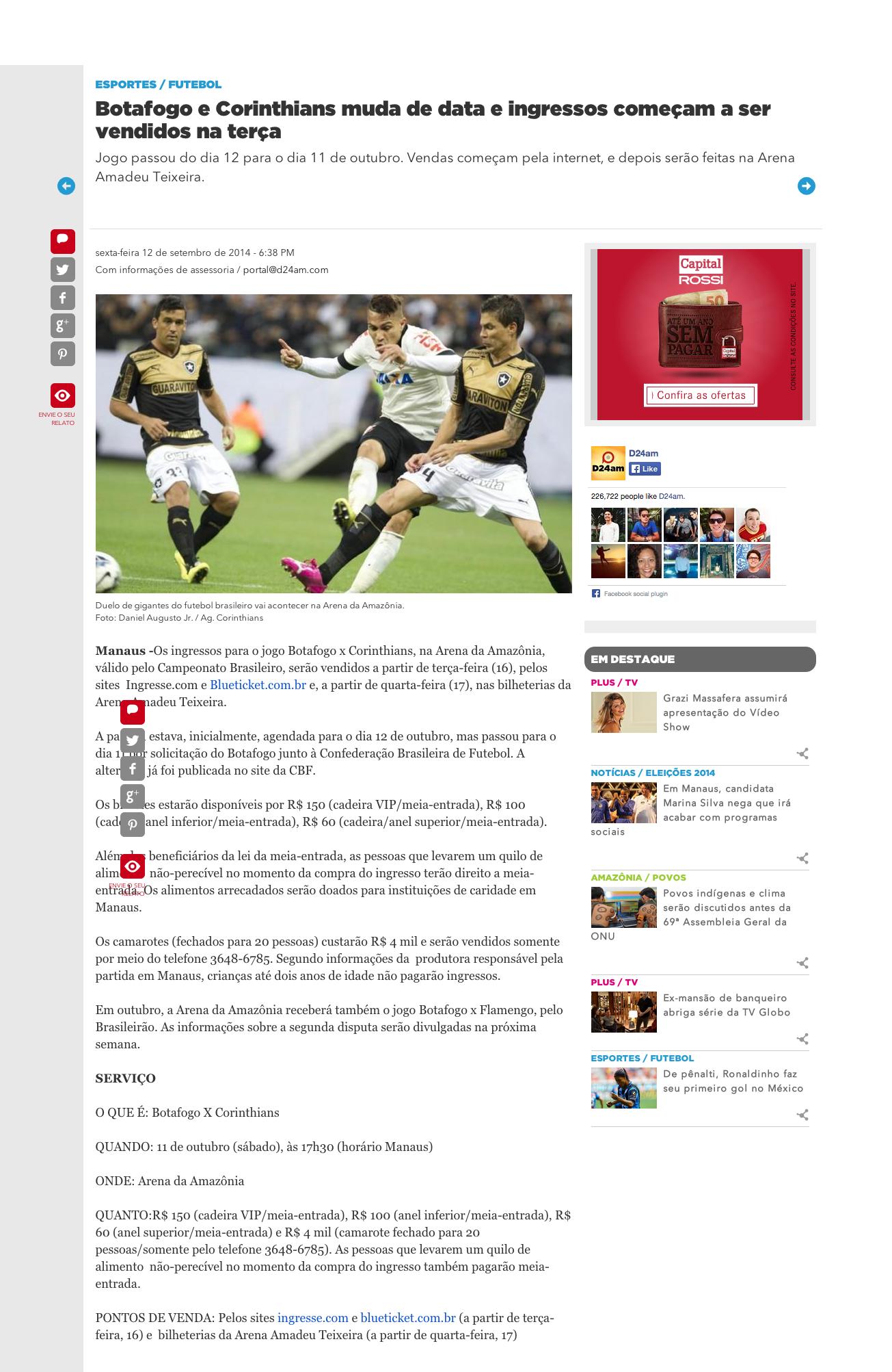 Botafogo e Corinthians muda de data e ingressos começam a ser vendidos na terça