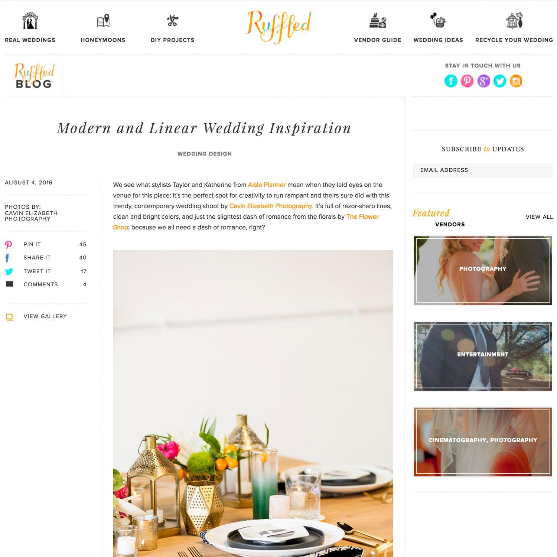 Modern Black + Gold Wedding Inspiration Featured on Ruffled