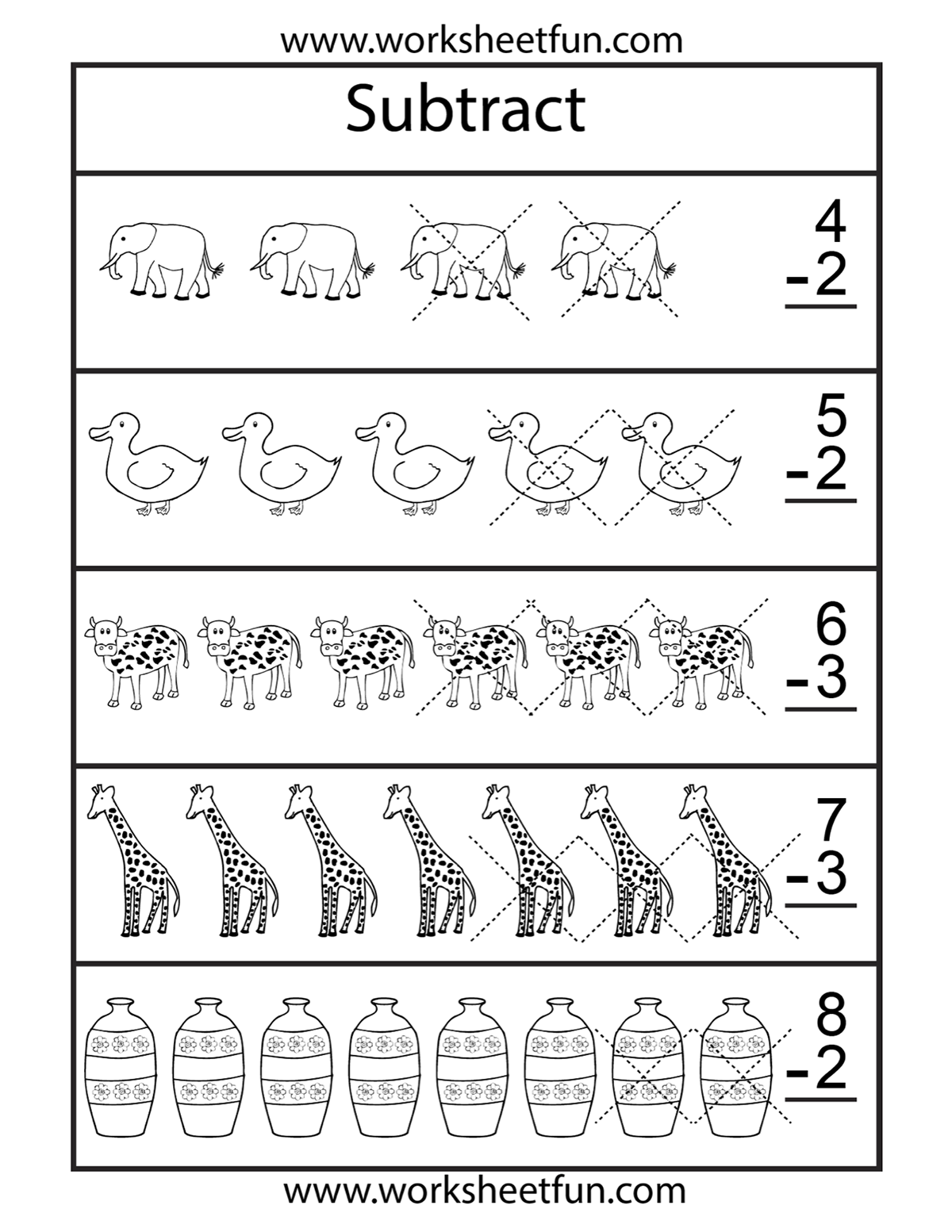 Subtraction: pictures worksheet | Homeschooling: Subtraction | Pinterest