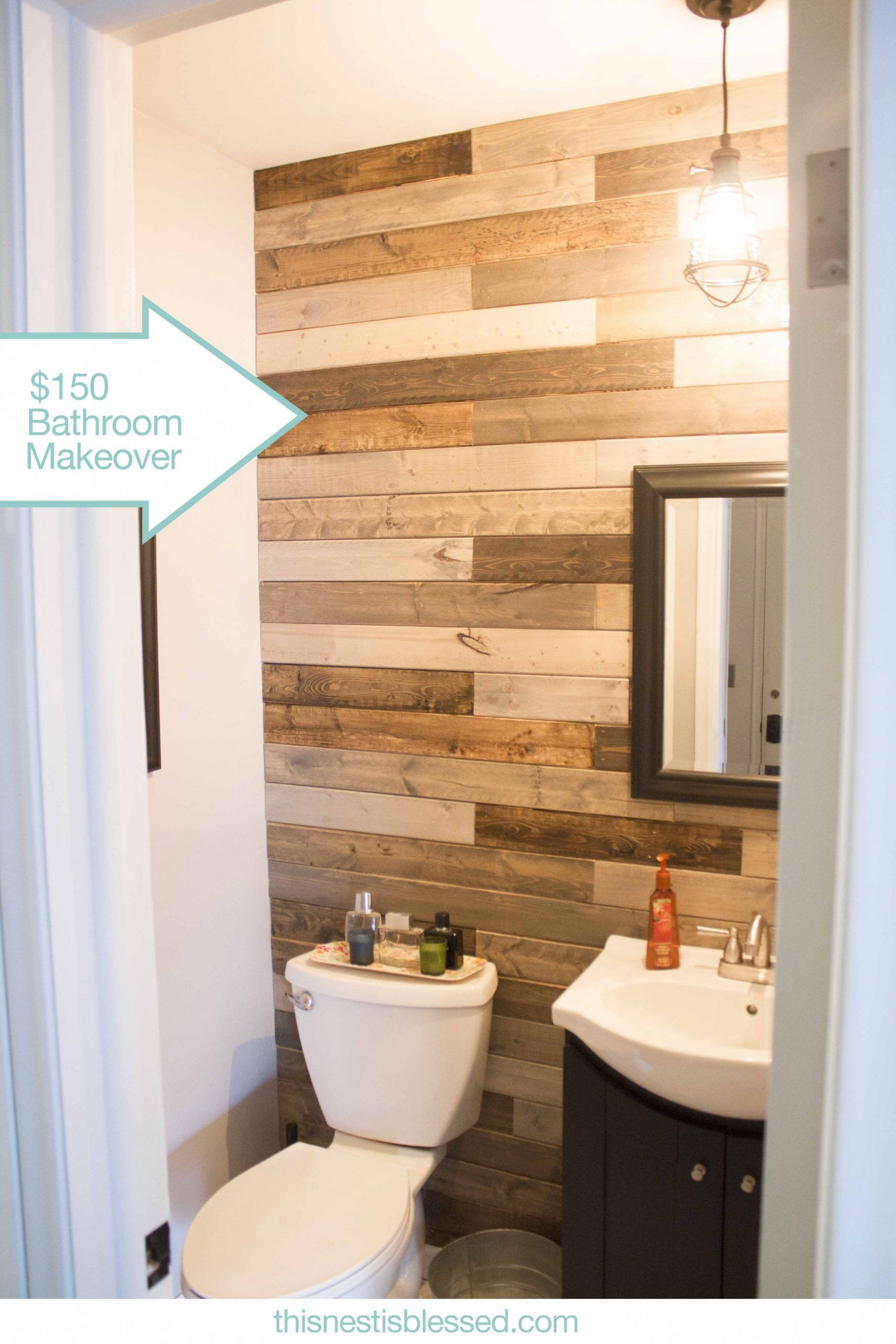 Pallet Wood Accent Wall Bathroom In 2020 Bathroom Accent Wall Plank Wall Bathroom Bathroom Makeover