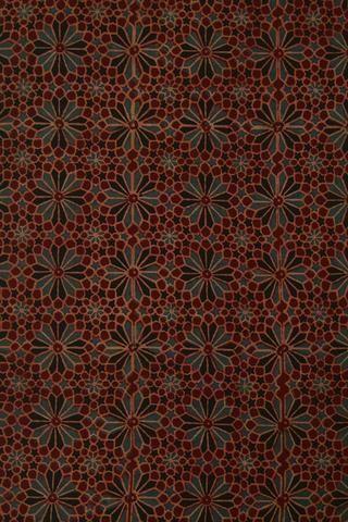 Flowers in Brick Red Block Printed Ajrak fabric Block